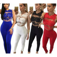 Fashion Jumpsuit Lace Trousers For Evening & Clubwear- Black