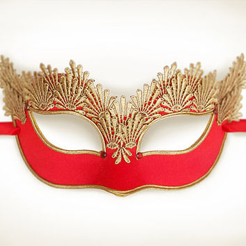 Red & Gold Lace Masquerade Mask - Venetian Style Halloween Mask With Embroidery - For Masquerade Ball, Prom, Costume Party, Wedding