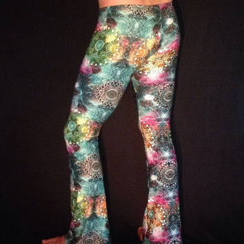 Fractal Men's Flare and Legging Psychedelic Pants // Sacred Geometry // Burning Man Festival Clothing
