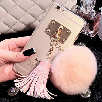 For iphone 5 5s 6 6s / Plus Case Fundas Rabbit Fur Ball Tassels Metal Ring Cases Soft TPU Girly Coque Cover