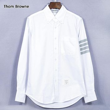 Thom Browne Fashion New Solid Color Long Sleeve Top Shirt White