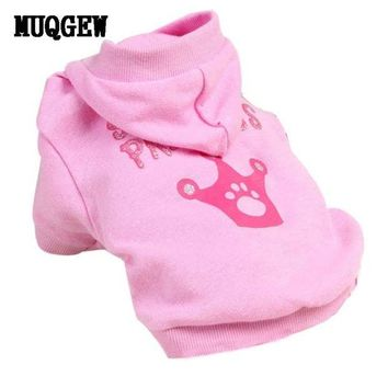 DCCKU7Q New Pink Pet Dog Clothes Crown Pattern Puppy Clothing Coat Hooded Cotton T Shirt tactical vest coats