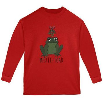 CREYCY8 Christmas Mistletoe Toad Funny Pun Youth Long Sleeve T Shirt
