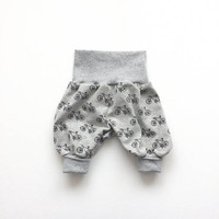 Gray bubble pants with bicycles. Comfy slouchy infant pants. Harem pants with gray fold over waistband and cuffs. Harem pants. Girl, boy