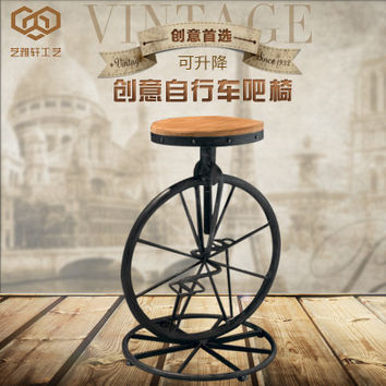 Restoring ancient ways, wrought iron bicycle bar chair, bar stool bar chair lift stool