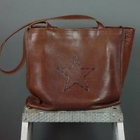 Col Colonel Littleton Soft Brown Leather Tooled Barbed Wire Branded Tote Handbag