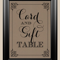 8x10 Card & Gift Table Vintage Rustic Sign For Your Wedding