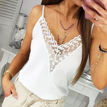 New fashion solid color lace straps top women White