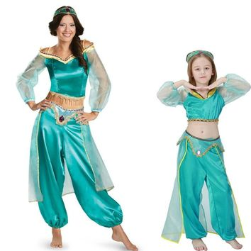 Sexy jasmine aladdin pants women costume Princess Costume Adult Kids Arabian Belly Dancer Costume princess jasmine cosplay