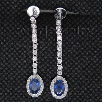 14KT White Gold Luxury AAA Sapphire Earrings Oval 4x6mm