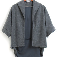 Dark Gray Lapel 3/4 Sleeve Hi-lo Oversized Coat