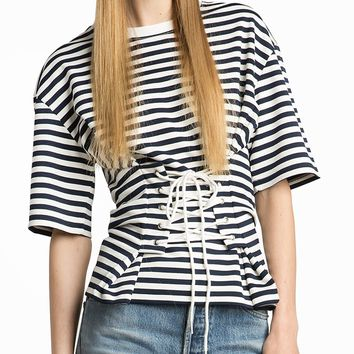 Monochrome Striped Lace Up Corset Detail Half Sleeve T-shirt