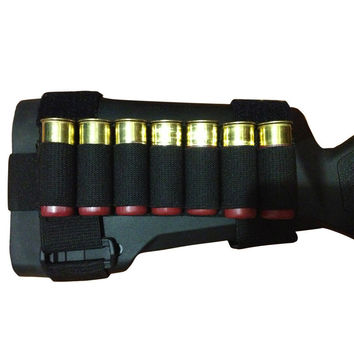 OneTigris Tactical Shotgun Buttstock Hunting Shell Holder Ammo Carrier Holder Pouch Cartridge 7 Round for Outdoor Sport