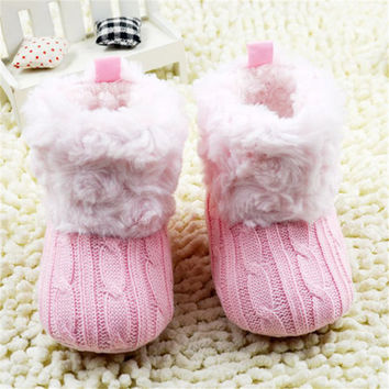 Fashion Infant Baby Girls Boys Crochet Knit Boots Booties Toddler Winter Snow Boots Walker Shoes