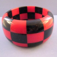 Red and Black Checkerboard Resin Bangle Bracelet