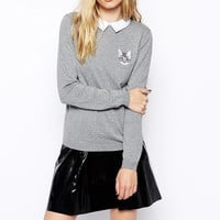 Gray Cat embroidered Collared Sweater