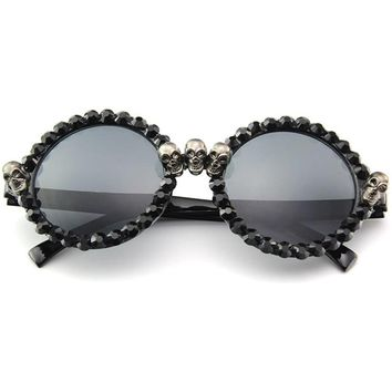 Vazrobe Rhinestone Sunglasses Women Skull square/round Vintage Black Sun Glasses for Woman Party Hippie Hip Hop Female 2018