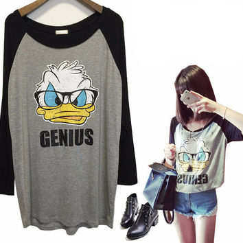 Graphic Duck Print Long Sleeve Top