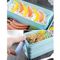 Urijk 900ml Portable 3 Layers Healthy Food Container Microwave Oven Lunch Bento Box Lunchbox Bento Box