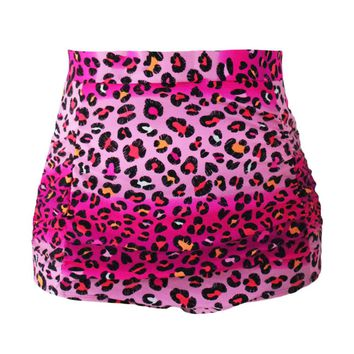 Rosy Leopard Print Retro High Waist Swim Bottom