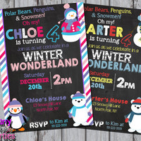 WINTER WONDERLAND INVITATION - Winter Birthday Invite - Polar Bears, Penguins, and Snowmen - Winter ONEderland Winter Birthday Christmas