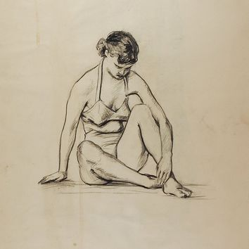Drawing Seated Female Figure 1950's