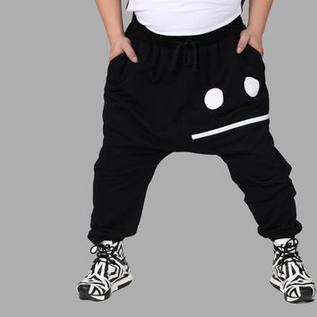 2016 Autumn European style Casual Black Trousers Big Size personality Smile Dance Plus Size mens harem Hip hop pants XXXL - 8XL