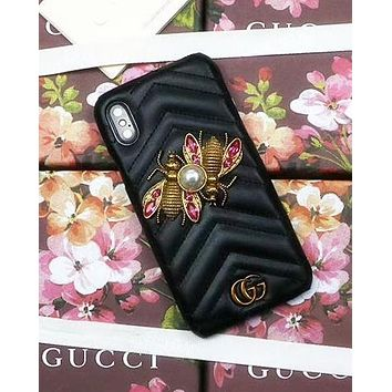 GUCCI Tide brand luxury pearl bee leather hard shell iPhone X phone case Black