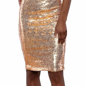 914111855463 Champagne Glitter Me Crushed Sequin Pencil Skirt
