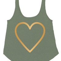 Billabong Women's Hearts Of Gold Tank Top Olive
