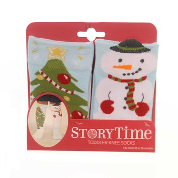 Novelty Socks SNOWMAN & TREE TODDLER KNEE SOCKS Fabric Non Skid Sole 5004710039