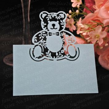 50pcs Sweet Love Bear Place Name Cards Paper Wine Glass Cup Table Invitation Card Favors Christening Baptism Party Decoration