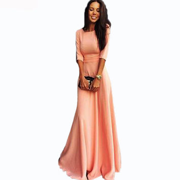 2016 Fashion Solid Colour pink Long Maxi Dress Summer Autumn Women Elegant O Neck Three Quarter Sleeve Floor Length Dress