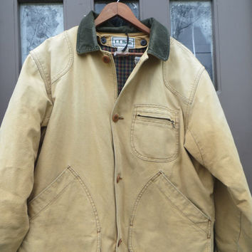 Vintage LL Bean Field Barn Coat Jacket Canvas  w green  Corduroy with PRIMALOFT  down Liner Mens Size  med Hunting Made In usa