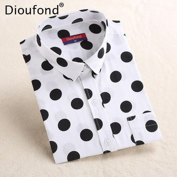 Dioufond Women Polka Dot Long Sleeve Pocket Blouse Shirt Casual White Black Ladies Office Shirt New Blusas Plus Size