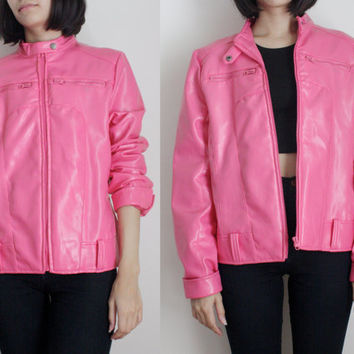 Pink Faux Leather Motorcycle Jacket