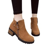 Rivets Shoes Martain Boots Suede Ankle Boots