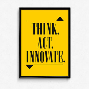 Think Act Innovate Print, Black and yellow, Typography, Typography Poster, Typographic Print, Geometric Print, Geometric Triangle