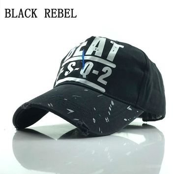 Trendy Winter Jacket Black Rebel 100% Washed Baseball cap Snapback Hats Autumn Summer Hat for Men Women Caps Casquette hats Letter Embroidery Gorras AT_92_12