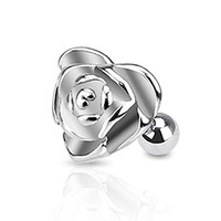 """1 - 316L Surgical Steel Heart Rose Cartilage Tragus Barbell Piercing Stud 16g 1/4"""" Barbell A196"""