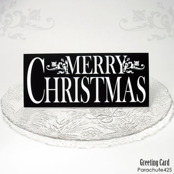 MERRY CHRISTMAS Greeting Card, black and white Christmas holiday card, typographic card