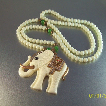 Vintage Chinese Faux Ivory Elephant Glass Jade Necklace, Jeweled Rhinestone