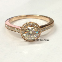 Round Moissanite Engagement Ring Pave Diamond Wedding 14K Rose Gold 5mm