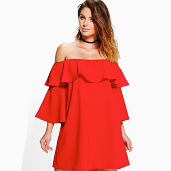 Slash Collar Wrapped Flounced Sleeve Dress