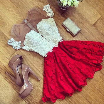 2016 Fashion Vestidos Women Summer Dress Vestido  Casual O-Neck Sleeveless Lace Dress A-line Brasil Plus Size
