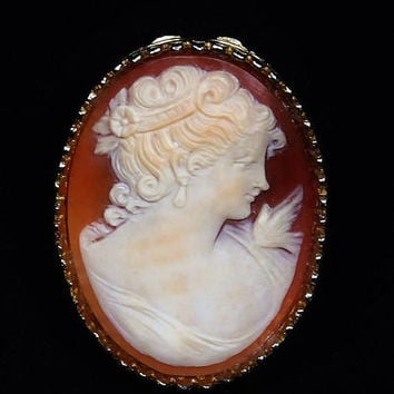 Carved Shell Cameo Brooch