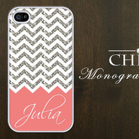 Personalized iPhone 4 case iPhone 4s case iPhone 4 cover iPhone 4S  Monogram Chevron White with Coral (NOT ACTUAL GLITTER)