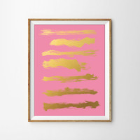 Faux Gold Foil Paint Brush Strokes Art Print. Modern Home Decor. Chic and Preppy. Office Art. Minimal Wall Print.