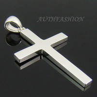 P315S Mens Sterling Silver 925 Simple Cross Pendant for Chain Necklace Charm