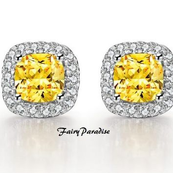 2 Ct (Each 1 ct, 6 mm) Cushion Cut Halo Earrings, Man Made Canary Yellow Diamond, 925 Silver, Bridal Earrings, Wedding Gift (FairyParadise)
